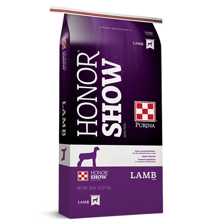 Purina Honor Show Chow Showlamb Grower DX. Purple feed bag. For show livestock.