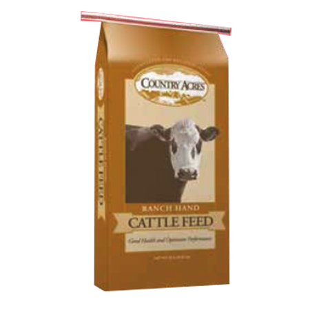 Purina Country Acres Ranch Hand 14 Cattle Feed. Brown feed bag with cow.
