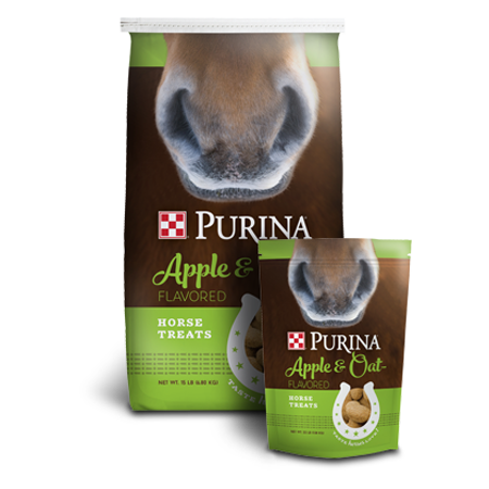 Purina Apple and Oat-Flavored Horse Treats. Green and brown feed bags.