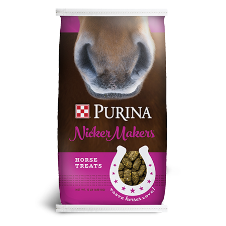Purina Nicker Makers Horse Treats. Purple and brown feed bag with horse nose.