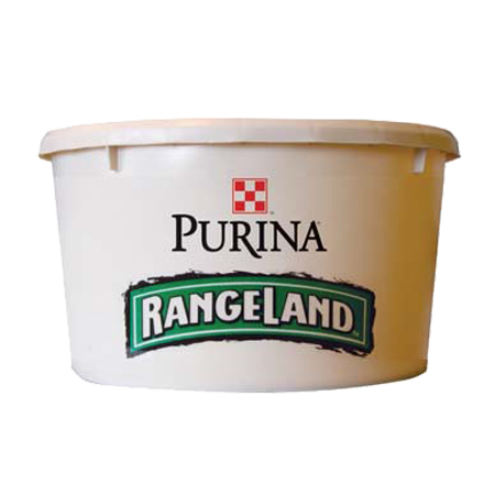 Purina RangeLand 15% Allstock Tub. White plastic tub with lid.