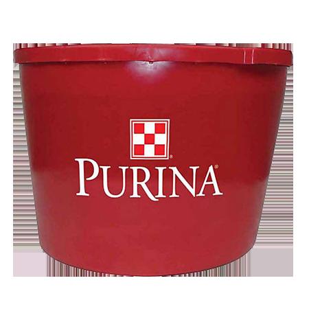 Purina Wind and Rain Storm Hi Mag Mineral Tub. Red plastic tub. Purina logo.