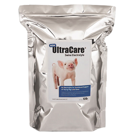 Purina UltraCare Swine Electrolyte. Metallic silver, resealable bag. Features a pink pig.