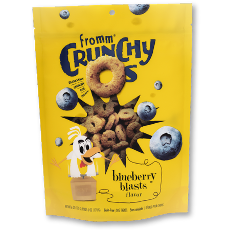 Yellow dog treat bag. Fromm Crunchy O's Blueberry Blasts Dog Treats