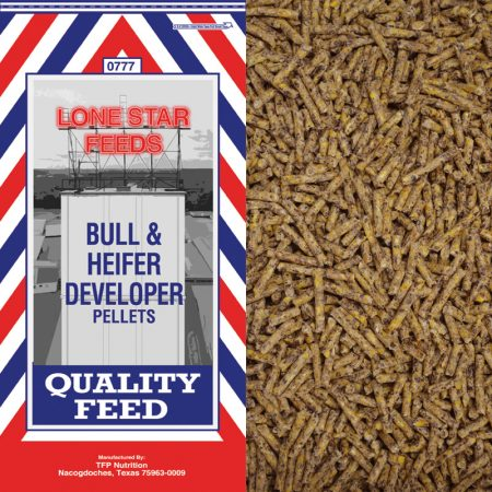 Feed for cattle. Bull and Heifer developer. Pelleted cattle feed. Red, white and blue feed bag.