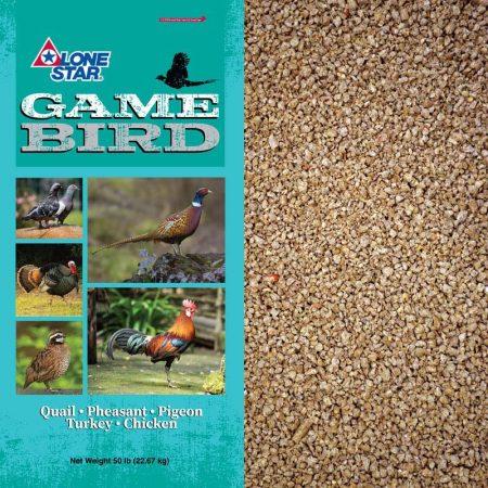 Feed for game bird. Lone Star Game Bird 1271. Game Bird Breeder-Layer Crumbles