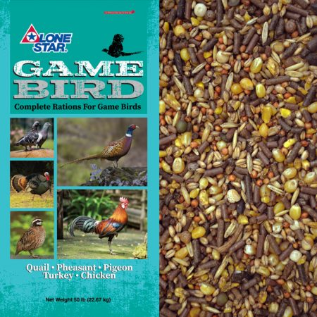 Feed for game birds. Teal feed bag.