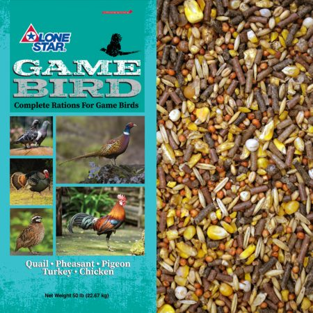 Teal feed bag. Lone Star 14% Poultry Maintenance Mix 1275 50-lb Bag