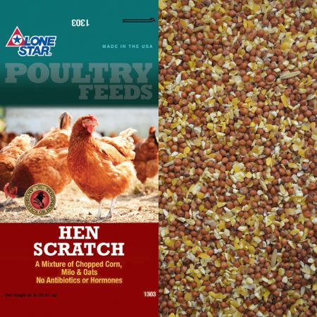 Feed for chickens. Teal and red feed bag.