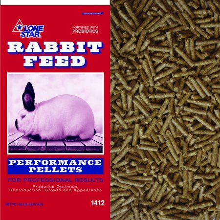 Pelleted rabbit feed. Red and blue feed bag. White rabbit, black ears.