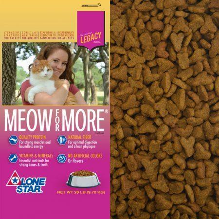 Dry cat food. Pink and yellow cat food bag.