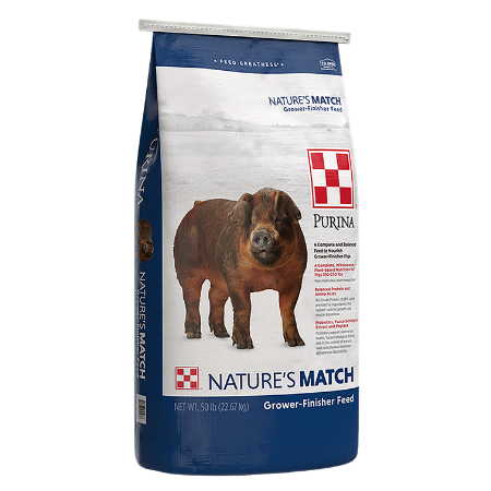 Purina Nature's Match Blue and white 50-lb feed bag. Brown swine. Grower-Finisher Pig Feed