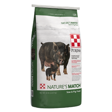 Green and white 50-lb feed bag. Purina Nature's Match Sow and Pig Feed.