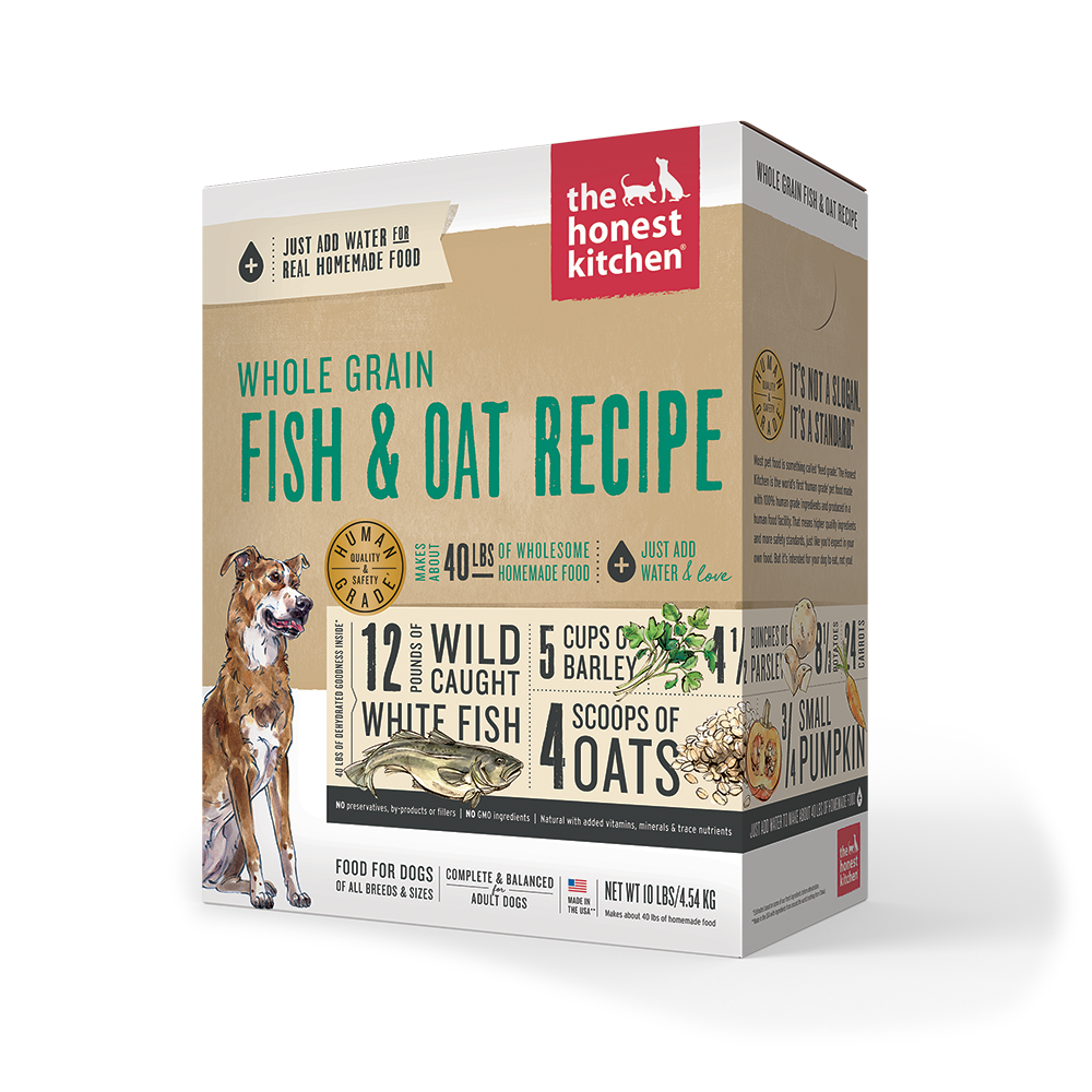 Whole Grain Dehydrated Dog Food Fish & Oats Recipe Box Case