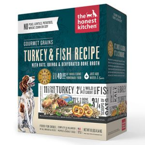 Gourmet Grains Turkey and Fish Dehydrated Dog Food 40-lb case.