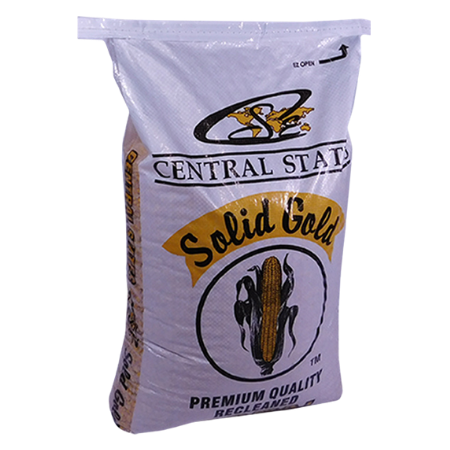 Central States Whole Corn. 50-lb white feed bag.