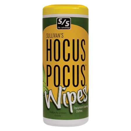 Sullivans Hocus Pocus Wipes. Green and yellow container.