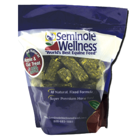 Seminole Wellness Apple & Oat Horse Treats. Blue and white bag with red apple.