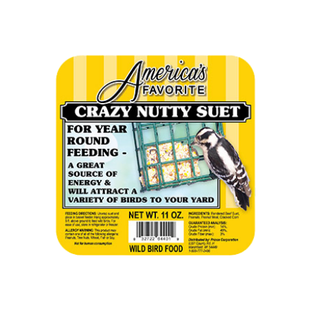 America's Favorite Crazy Nutty Suet. Yellow bird food label.