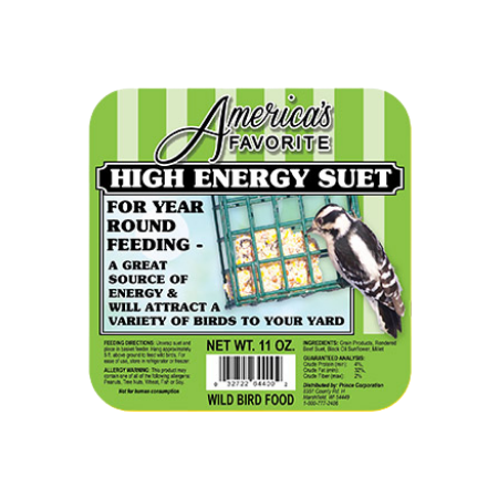 America's Favorite Hi-Energy Suet. Green bird food label.