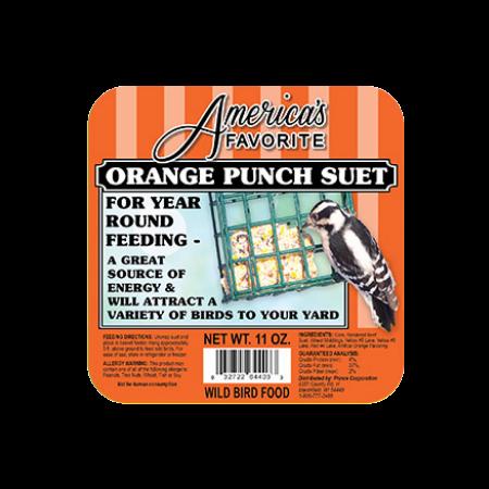 America's Favorite Orange Punch Suet. Orange bird food label.