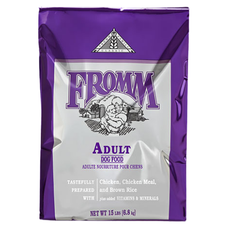 Fromm Adult Classic Dry Dog Food. Purple pet food bag.