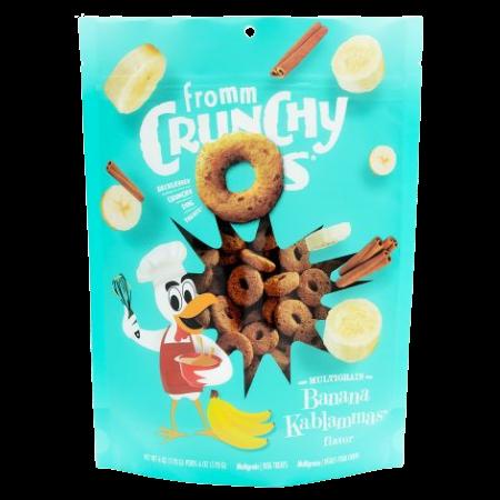 Fromm Crunchy O's Banana Kablammas Dog Treats. Teal 6-oz pouch.