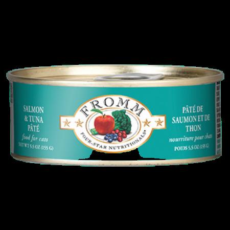 Fromm Salmon & Tuna Pâté Cat Food. Green 5.5-oz can.