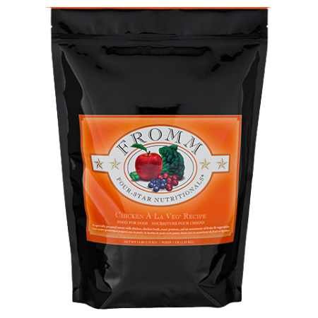 Fromm Chicken À La Veg® Recipe. Dry dog food in a black and orange pouch.