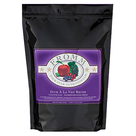 Fromm Duck À La Veg Recipe. Dry dog food in black and purple pouch.
