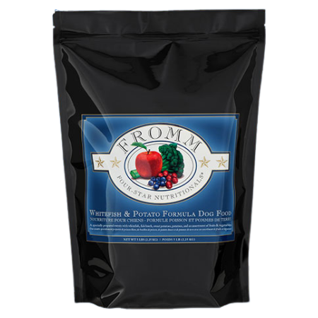 Fromm Whitefish & Potato Formula. Black and blue dry dog food pouch.