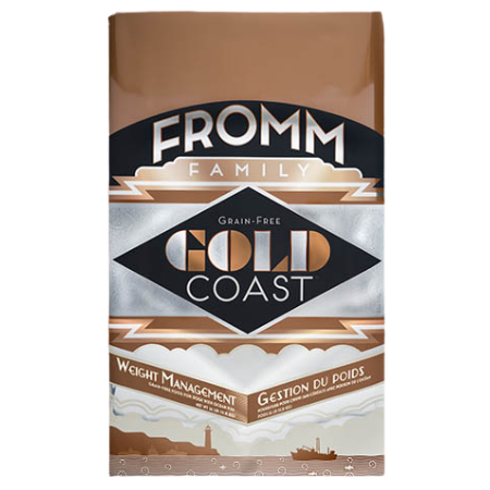 Fromm Gold Coast Weight Management Dry Dog Food. Brown and gold dog food bag.