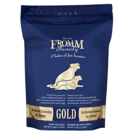 Fromm Reduced Activity & Senior Gold Dry Dog Food. Blue and gold dog food pouch.