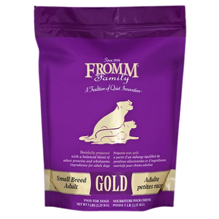 Fromm Small Breed Adult Gold. Dry dog food in purple and gold pouch.