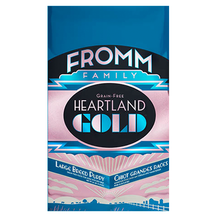 Fromm Heartland Gold Large Breed Puppy Food. Dry puppy food in blue and pink pet food bag.