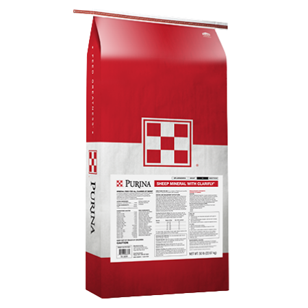 Purina Sheep Mineral with ClariFly. Red and white Purina feed bag.