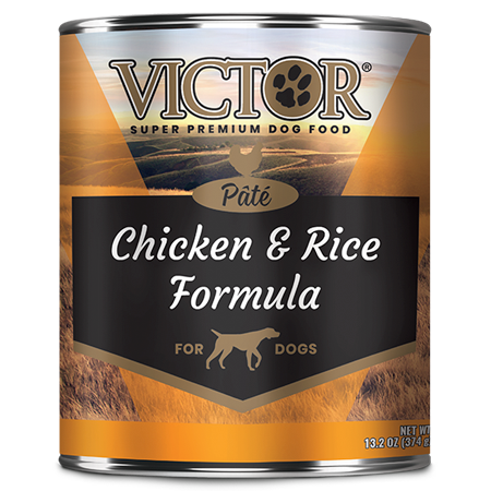 Victor Chicken and Rice Formula Pâté. Wet dog food in black and gold in 13.2 oz can.
