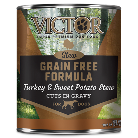 Victor Grain Free Formula Turkey and Sweet Potato Cuts in Gravy. Wet dog food in brown and black 13.2 oz can.