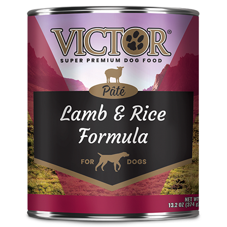 Victor Lamb and Rice Formula Pâté. Wet dog food in purple and black 13.2 oz can.
