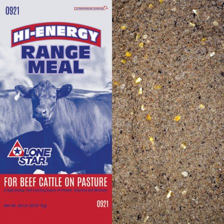 Red and blue feed bag. Brown cow. Cattle feed.