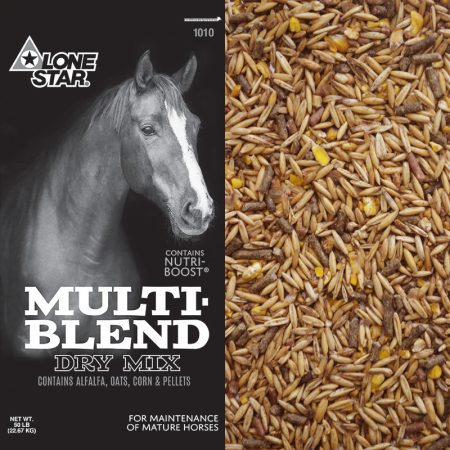Black feed bag with horse. Lone Star Horse feed. Equine Feed