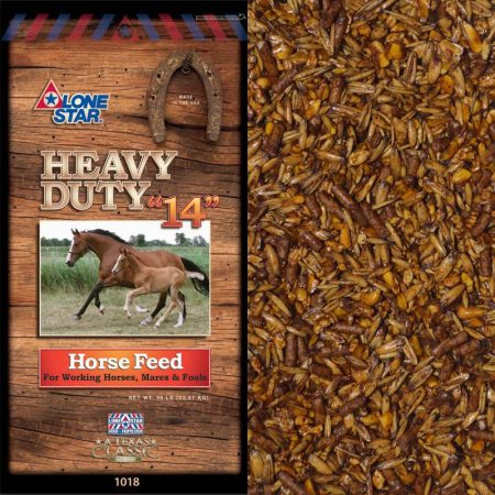 Brown feed bag. Two horses. Lone Star Heavy Duty 14 Horse Feed 1018