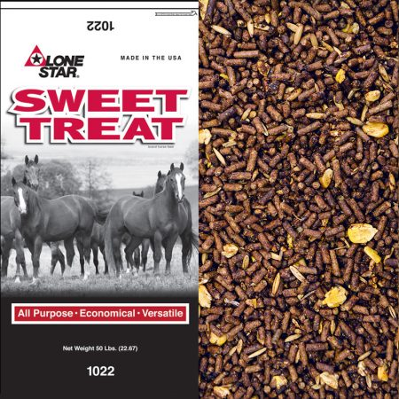 Sweet Feed for horses. Grey and red feed bag.