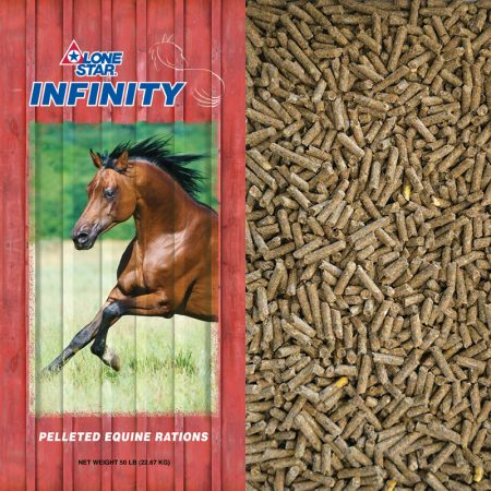Red feed bag. Brown horse running. Pelleted horse feed. Lone Star Feed 1102