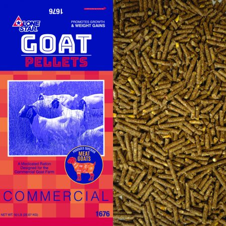 Blue and red feed bag. Herd of goats. Pelleted feed for commercial goats. Lone Star 1676