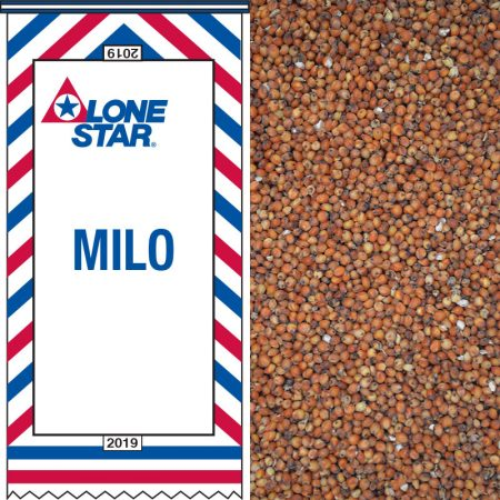Red, white and blue feed bag. Milo grain for wildbirds.