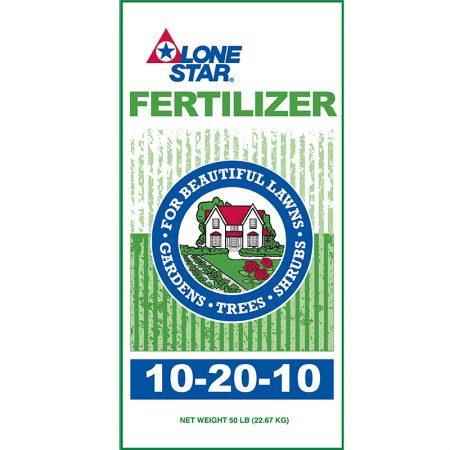 Green and white fertilizer bag. Lone Star 10-20-10 Fertilizer 9624