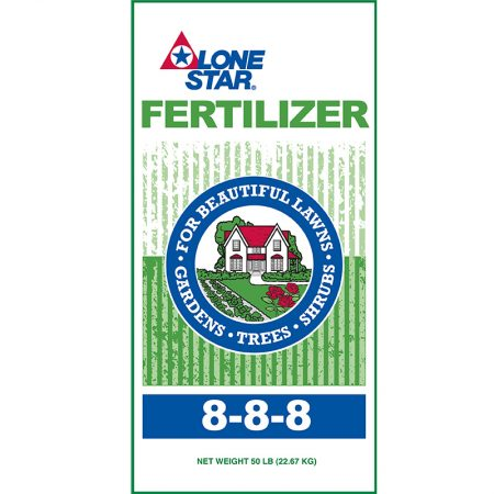 Green and white fertilizer bag. Lone Star 8-8-8 🔍