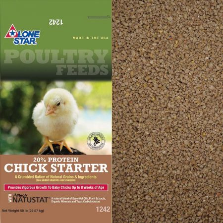 Green and tan feed bag. Yellow chick. Lone Star 1242