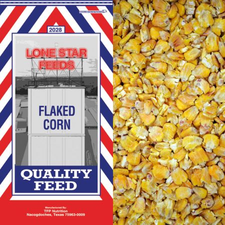 Red, white and blue feed bag. Lone Star Flaked Corn 2028